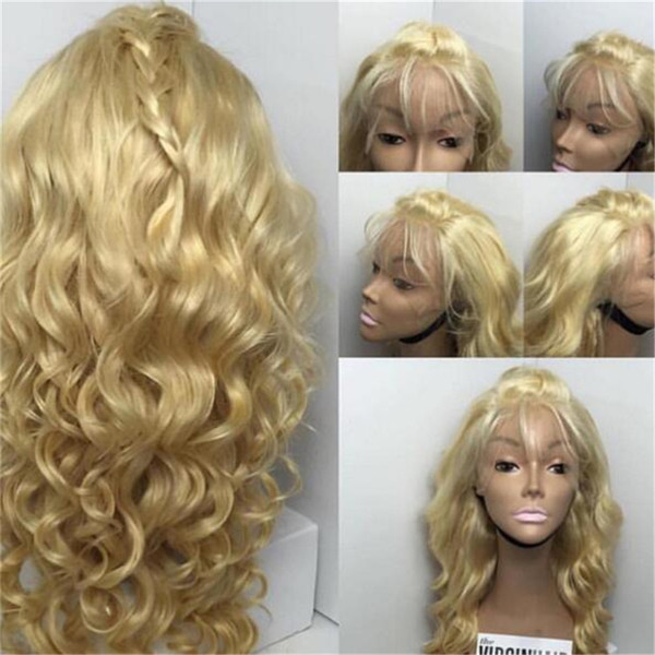 #613 brazilian body wave human hair blonde full lace wig with baby hair 130 density blonde lace front wig for white women