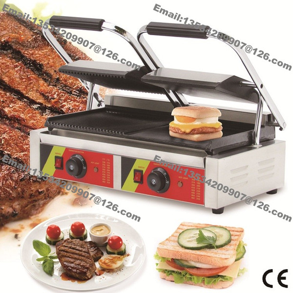 Free Shipping Commercial Use Non-stick 110v 220v Electric Ribbed + Smooth Steak Sandwich Panini Double Contact Grill