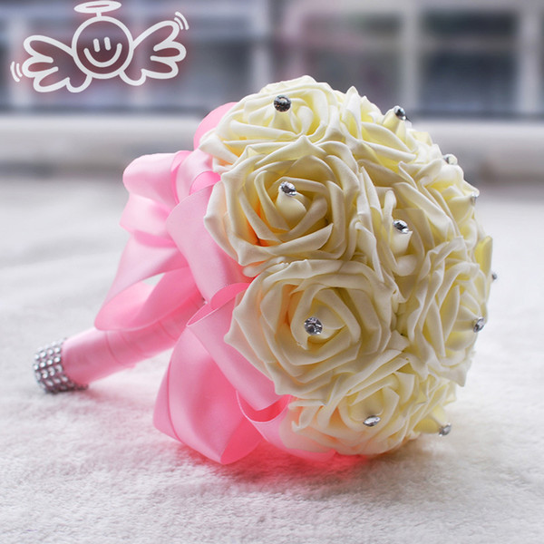 Hot Bridal Bouquets Rose For Wedding With Artificial Pearls Rhinestones Ribbon Fancy Handmade Pink Artificial Wedding Bouquets #BW-B003