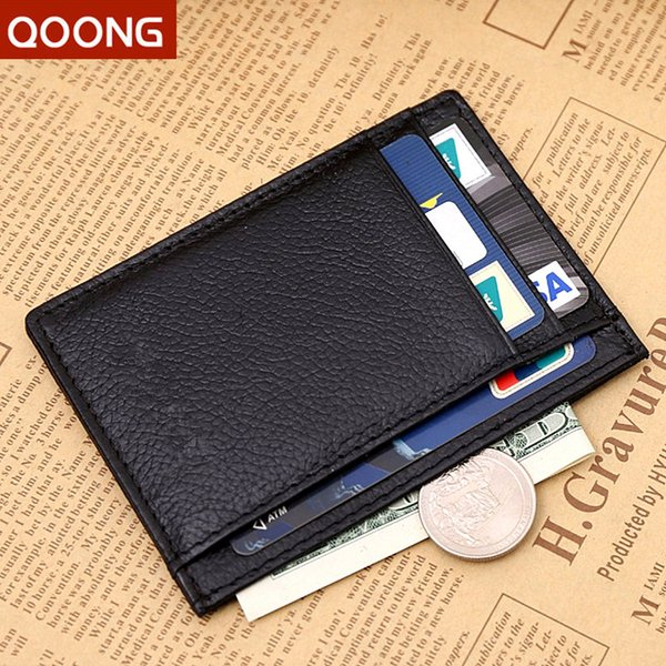 Wholesale- QOONG Fashion Men Women Genuine Leather Female Ultrathin Wallet Money  Holder Clip Short Design Male Purse ML1-012
