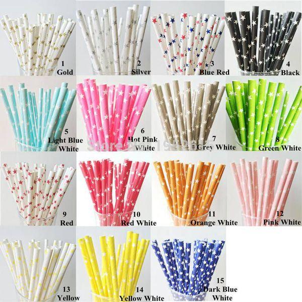 25pcs Green Brown Bamboo Paper Straws Birthday Wedding Decorative Party Supplies