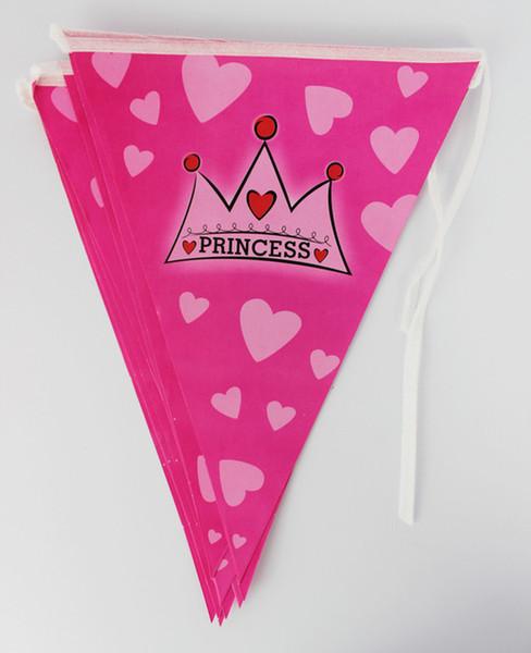 Großhandels-12flags Karikatur-Muster-Kronen-Prinzessin-Thema-Partei-Geburtstagsfeier-Dekoration-Fahne für Kinder scherzt Partei-Versorgungsmaterialien