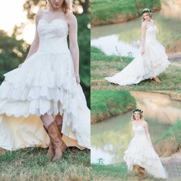 Bohemian Lace High Low New Arrival 2017 A Line Wedding Dresses Sweetheart sleeveless Appliques Empire Tulle Tiered Skirts Sweep Train Dress