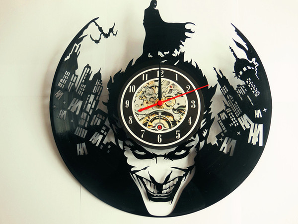top popular Joker Batman vinyl record clock, wall clock, vinyl clock, catwoman, home decor 072 2019