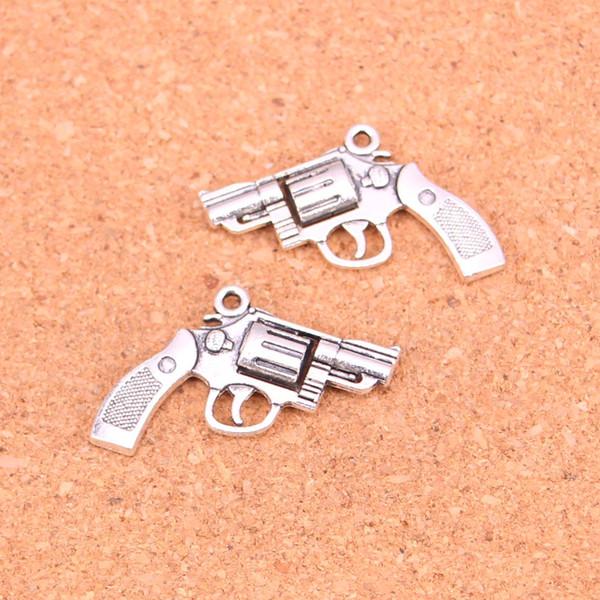 54pcs Antique silver Charms pistol Pendant Fit Bracelets Necklace DIY Metal Jewelry Making 29*22mm