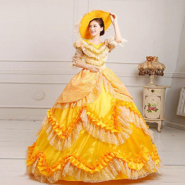 2016 Hot Sale Yellow Lace Dance Marie Antoinette Dresses 18th Century Queen Floral Printed Renaissance Princess Dress For Women