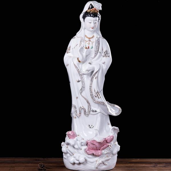 Avalokiteshvara ceramic free Buddha feng shui ornaments Guanyin crafts boutique 24 inch -1 meters straight battalion