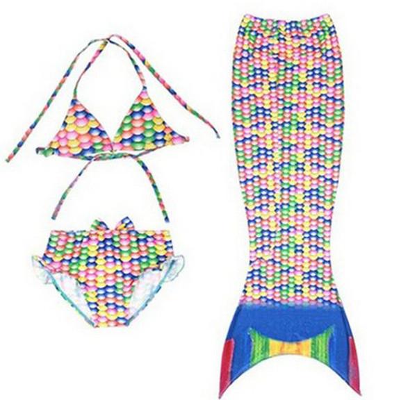 Costume da bagno a sirena per bambina a 2 stili Costume da bagno a sirena per bikini da bambina Costume a tre pezzi Costume da bagno Girsl Costume da bagno per bambini TA144