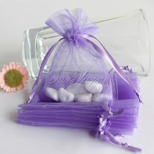 50 unids / lote Púrpura Claro Fuerte Bolsa de Organza Pura Favor de la Boda Regalo Bolsa de Dulces Fiesta festiva Suministros