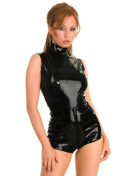 New Arrival Size XXL-S Black Catsuit Short Leotard Zipper To Crotch Sleeveless Bodysuit Sexy Shiny PVC Dance Clubwear Fetish Jumpsuit
