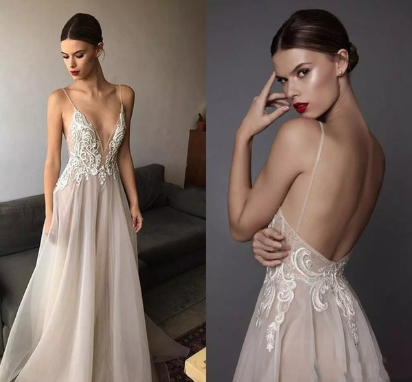 2017 Sexy Berta Wedding Dresses Deep V Neck Spaghetti Straps Embroidered Tulle Backless Summer Illusion Long Boho Bridal Gowns For Beach