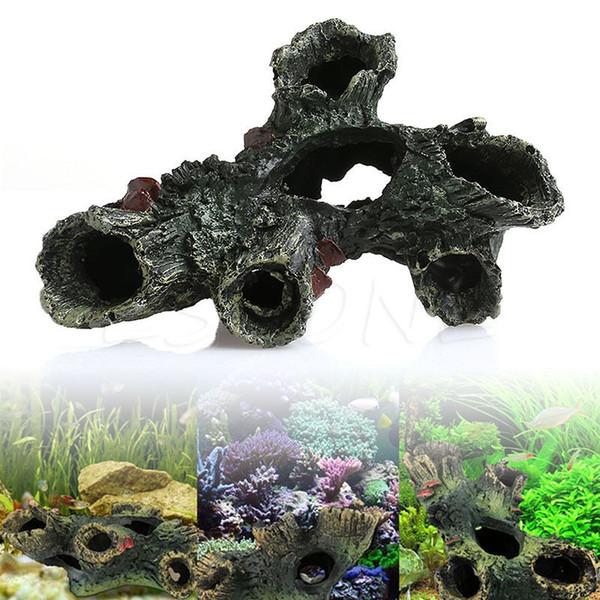 Vente en gros- Aquarium Trunk Bole Driftwood Fish Tank Résine Under Ornaments Décoration