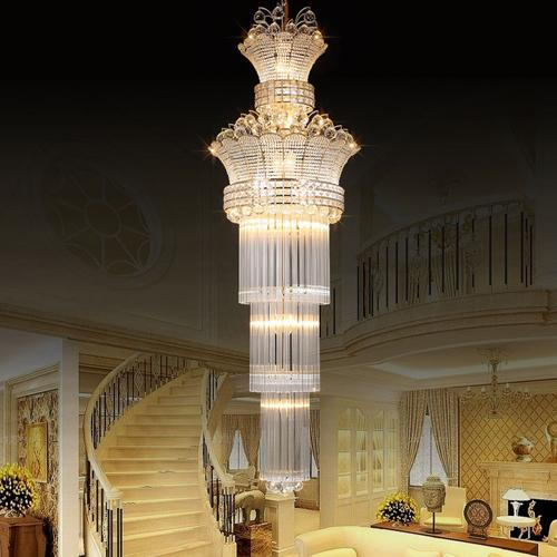 Chandeliers factory prices luxury golden royal high end K9 crystal chandelier duplex hotel lobby stairs villa led chandeliers with bulbs