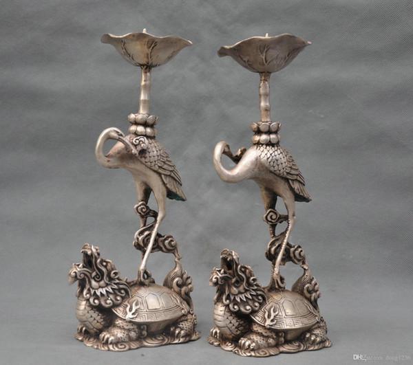 "12"" China Silver Bronze Crane Dragon Turtle Candle Stick Statue Pair"