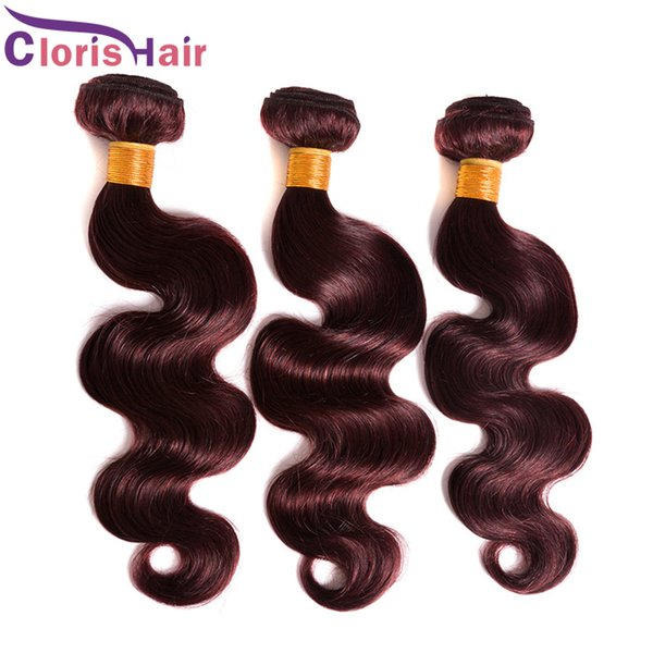 Colored Pure Burgundy Human Hair Weave Body Wave Peruvian Hair