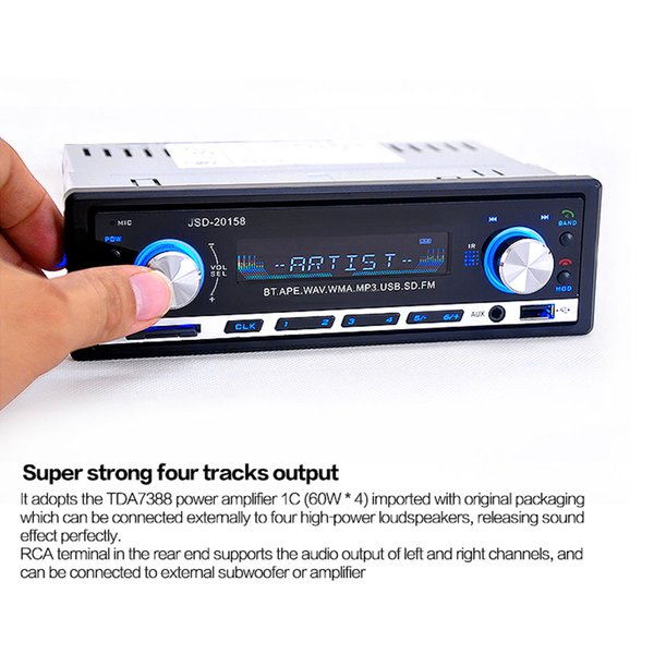 top popular Hot! High Quality Bluetooth Car Stereo Audio 1 DIN In-Dash FM Radio Aux Input Receiver SD USB MP3 Player CEC_823 2019
