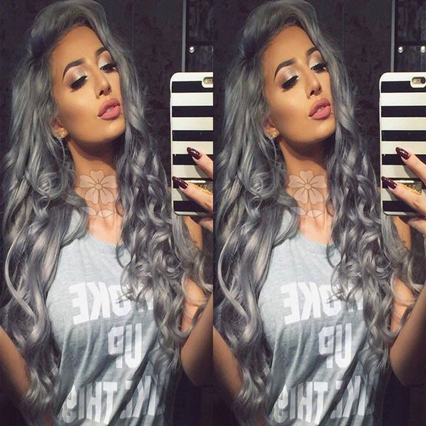 Fashion Dark Grey Body Wave Wigs Glueless Synthetic Lace Front Wig High Quality Heat Resistant Wigs With Baby Hair Free Parting For Women