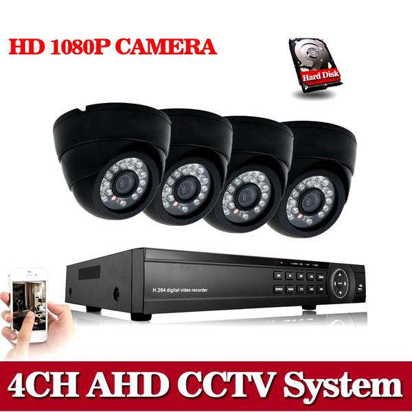 CCTV 4 Channel AHD AHD-N H DVR P2P HDMI H. 264 Hybrid DVR Video Surveillance System 1080P AHD Dome Camera Kit Day & Night IR-CUT