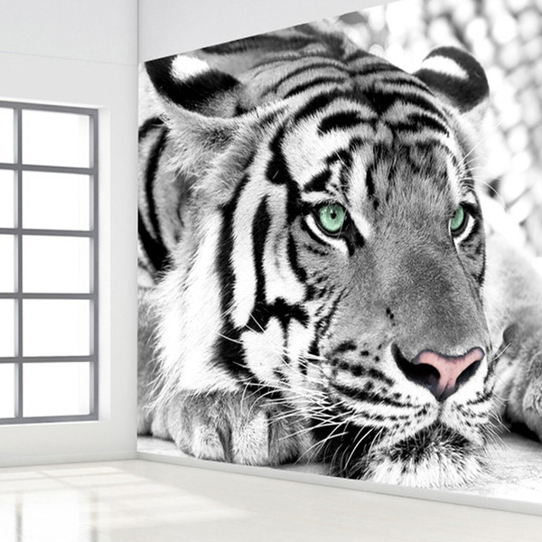 Wholesale-Black And White Tiger Wall Papers Roll Living RoomTV Background Wallpaper Papel De Parede Home Decor 3D Room Wallpaper Landscape