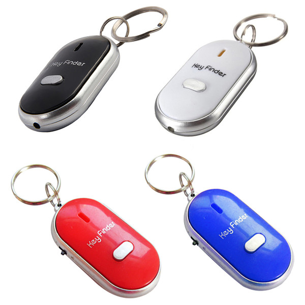 Hot Sale Colorful LED Key Finder Locator Find Lost Keys Chain Keychain Whistle Sound Control with retail boxes DHL