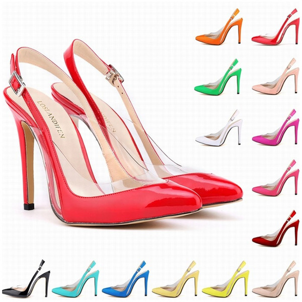 Womens Patent Leather High Heels Sexy Ankle Strap Sandals Pumps Sandals Ladies sapatos Party Wedding Shoes EUR Size 35-42 D0098