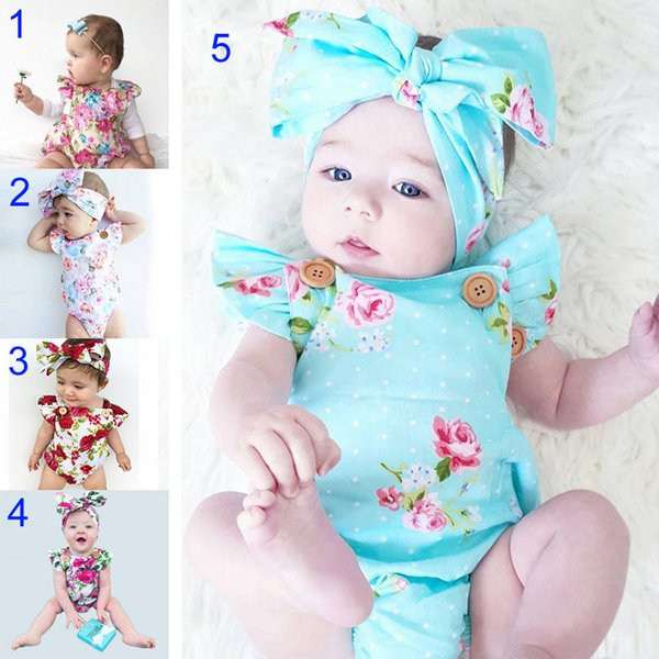 best selling 5 Style INS Baby Boy girl rompers suits Children ins cartoon Flower Flying sleeve triangle rompers+Hair band 2pcs set baby clothes B001