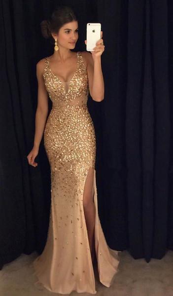2019 Long Evening Dresses V-Neckline Sleeveless Zipper Sweep Train Chiffon and Beading Crystal Split Side Party Prom Dresses 2019