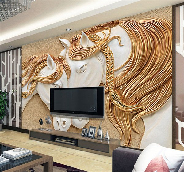 High Quality Custom Photo Wallpaper 3D Stereo Embossed Horse Living Room TV Backdrop Wall Mural Art Painting Mural Wall Paper