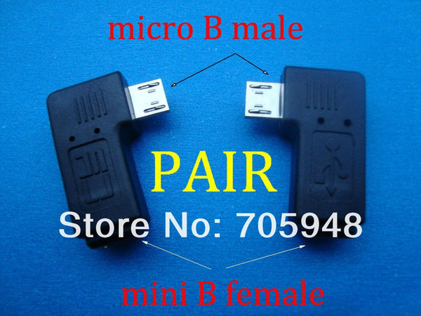 Wholesale- pair 90 degree right left angle micro USB B male to mini usb female plug connector adapters