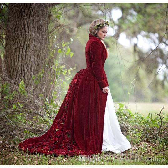 Real Luxury Burgundy Bridal Cloak For Wedding Rose Flowers Large Size Christmas Cape With Hat Custom-Size Bridal Accessories Velvet