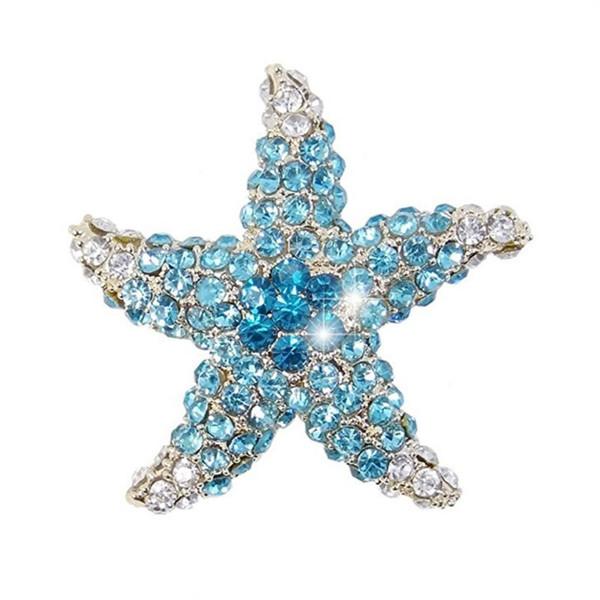 Crystal Dazzling Starfish Brooch Silver-Tone Brooch Pin