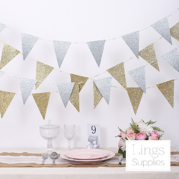 Wholesale- Free Shipping 1 X 3 Meter Gold/Silver Shiny Cloth Flag Wedding Garland Banner Party Decoration Supply