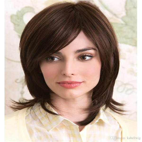 AliBlissWig Yaki Straight Glueless Full Lace Wigs For color 4# Dark brown Women Natural Color 130% Density Brazilian Remy Human Hair 100%