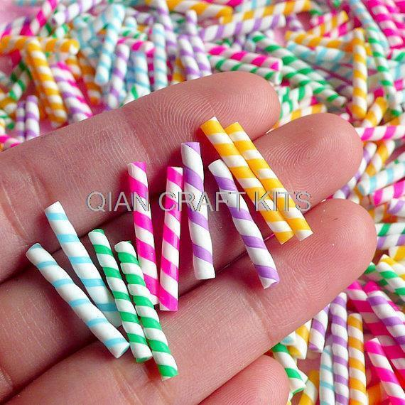 500pcs Fake Rainbow Candy Stick / Colorful Straw Faux Candy Cupcake Topping Miniature sweet Deco Decoden 25-30mm