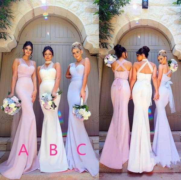 Elegant Mermaid Stretchy Elastic Satin Bridesmaid Dresses 2018 Stylish Sheer Straps Maid of Honor Evening Prom Party Wedding Guest Gowns