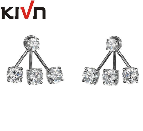 KIVN Fashion Jewelry Stunning CZ Cubic Zirconia Bridal Wedding Earring Ear Jackets for Women Mothers Birthday Christmas Gifts