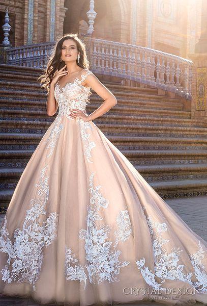 Cheap Blush Ball Gown Wedding Dresses 2017 Crystal Design Bridal ...