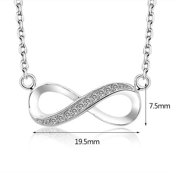 high quality 925 Sterling Silver Infinite Love Infinity Symbol Tiny Charm Necklace white gold plated endless jewelry present for women