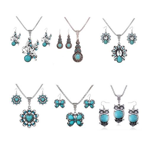best selling Jewelry Sets Necklace Earrings Fashion Women Vintage Ethnic Imitation Turquoise Rhinestone 2-Piece Set Party Jewelry Wholesale TJS008