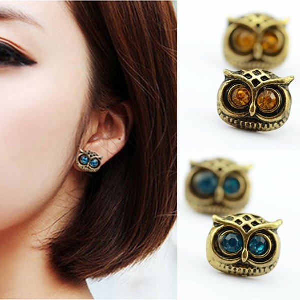 Bijoux Antique Gold Big Eye Owl Stud Earrings Fashion Jewelry Brincos Crystal Earing 2016 pendientes mujer HOT Selling