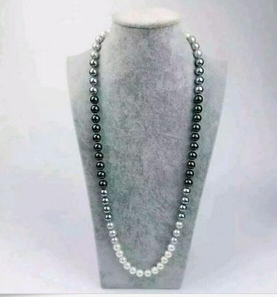 New Fine Pearls Jewelry 10-11mm natural Australian south seas black white gray pearl necklace 38 inch
