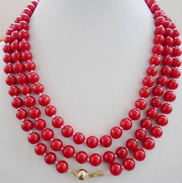 NUEVO collar natural de 8 mm de coral rojo de 8 mm Broche de oro de 48
