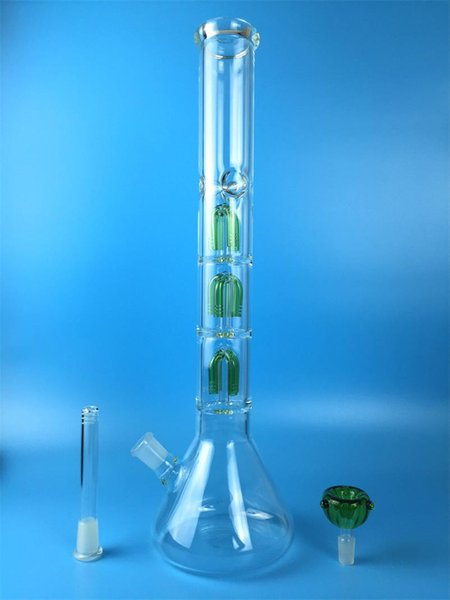 Hottest Straight glass bong smoking pipe Glass Water Pipes 4 Arm Tree Percolator Bongs Double Recycler Bong Beaker 46.5cm Joint 18.8MM