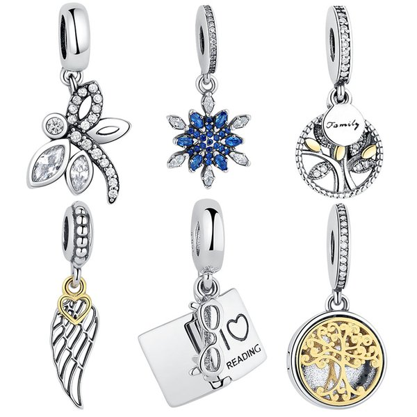 BELAWANG Originale madreperla d'argento 925 perline adatto a Pandora Charms Collana Braccialetti Creazione di gioielli Albero della vita a forma di cuore Pendente