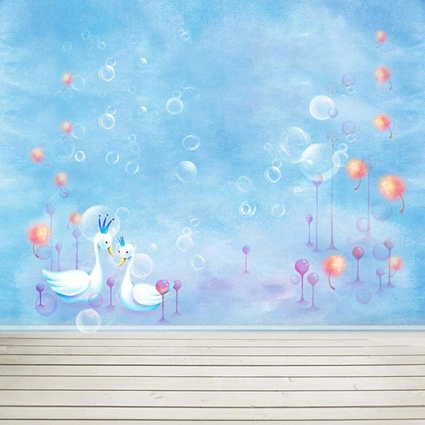 Baby Newborn Sky Blue Photo Booth Background Bubbles Swans Colored Dandelion Children Kids Photography Backdrop Wooden Planks Floor