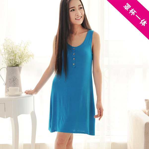 Pure color long skirt one-piece Korean modal in the long section of the female code vest summer Nightgown