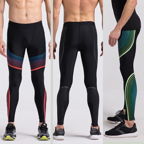 1a449afa0e438 Calças Esportivas Masculinas Calças de Basquete Calças Leggings de Pernas Compressão  Calças de Listras de Alto