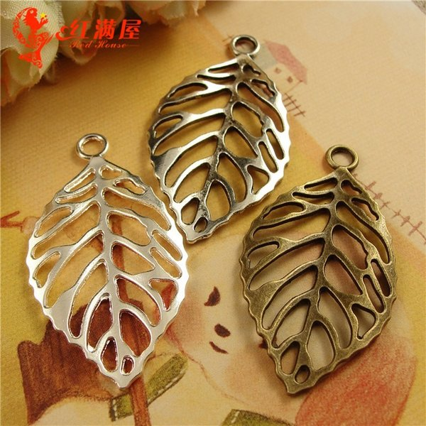 2019 44*26MM Antique Bronze Filigree Leaf Charms For Bracelet, Metal Leaves  Dangle Vintage Pendant For Necklace, Tibetan Jewelry Making Findings From