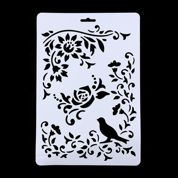 Wholesale- 1Pc Bird Vine Flower Layering Stencils For Walls Painting Scrapbooking Stamps Album Decorative Embossing Paper Cards DIY Craft