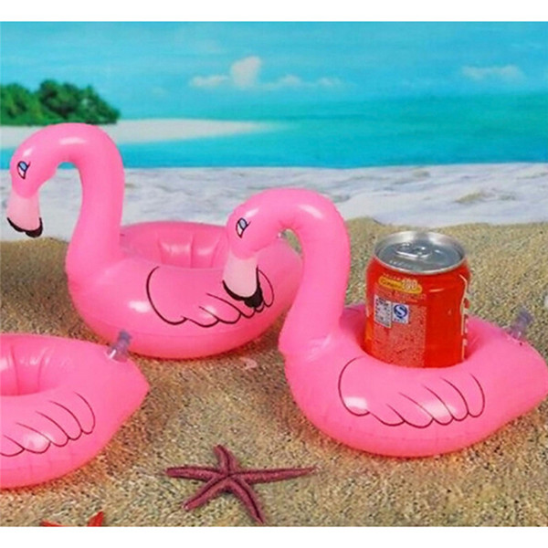 120pcs Mini Flamingo Floating Inflatable Coasters Drink Cell Phone Holder Stand Pool Event & Party Decoration Toy For Kids